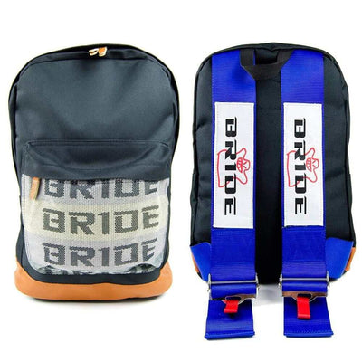 Bride racing backpack with blue racing harness shoulder straps, the perfect school backpack, the best school bag, JDM backpack made for car enthusiasts, bride backpack with authentic racing harness straps, car guys love it, back to school sale