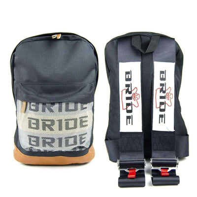 Bride racing backpack with black racing harness shoulder straps, the perfect school backpack, the best school bag, JDM backpack made for car enthusiasts, bride backpack with authentic racing harness straps, car guys love it, back to school sale