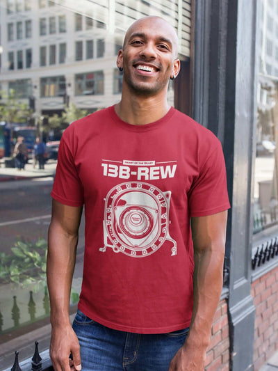 Legendary Japanese engine printed on red car t-shirt designed for car lovers, car guys, car enthusiasts, JDM lovers and petrolheads