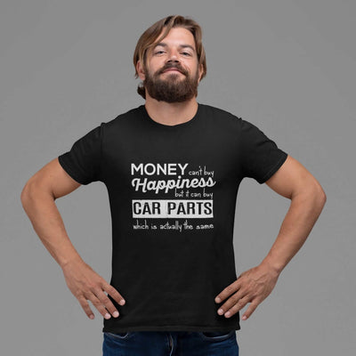 a man with More-car-parts-is-equal-to-happiness-funny-black-car-tshirt,-mechanic,-car-fans,-car-guys,-car-lovers,-car-enthusiasts,-petrolheads,-drifting-tshirt,-awesome-men's-gift-idea