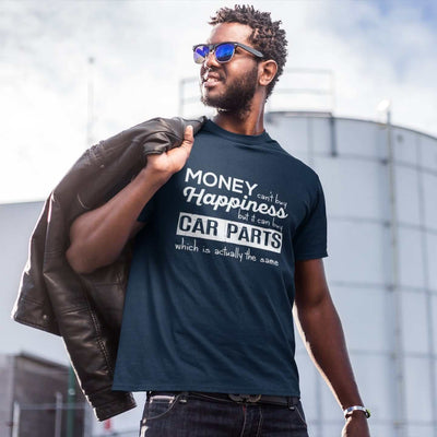 a man with More-car-parts-is-equal-to-happiness-funny-navy-car-tshirt,-mechanic,-car-fans,-car-guys,-car-lovers,-car-enthusiasts,-petrolheads,-drifting-tshirt,-awesome-men's-gift-idea