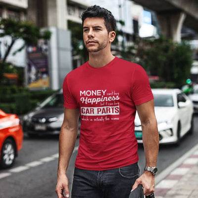 More-car-parts-is-equal-to-happiness-funny-red-car-tshirt,-mechanic,-car-fans,-car-guys,-car-lovers,-car-enthusiasts,-petrolheads,-drifting-tshirt,-awesome-men's-gift-idea