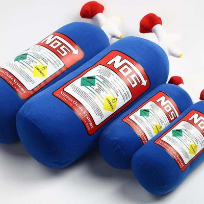 blue and red NOS bottle car pillows white background, the perfect car interior, the perfect gift, jdm pillow
