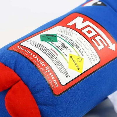 blue and red NOS bottle car pillow white background details, the perfect car interior, the perfect gift, jdm pillow