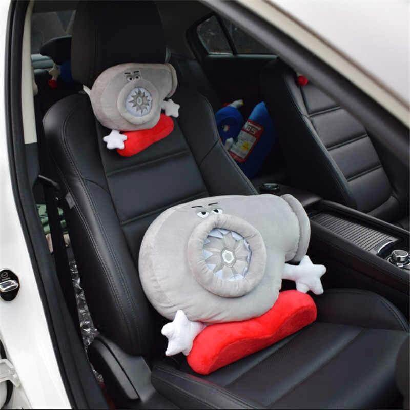 Turbocharger car pillows, one small and one large detailed picture placed on black leather car seats, the perfect decor for any car, JDM car accessories, car pillow, JDM pillow, funny gift for every man