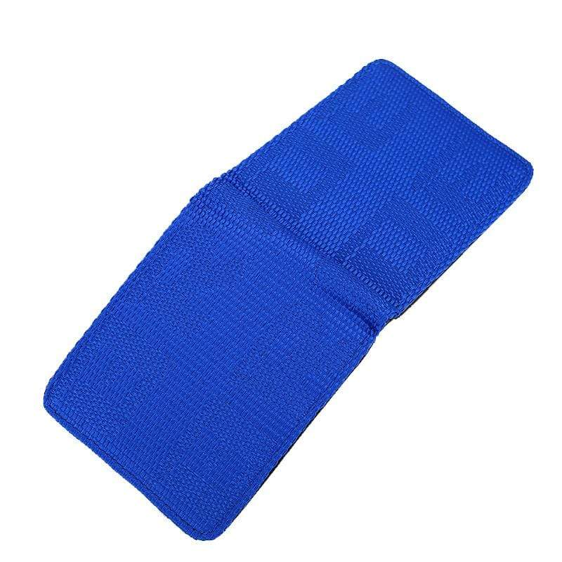 racing bride wallet in blue, racing seat material wallet, authentic racing fabric material, black interior, plenty of storage for cash and credit cards