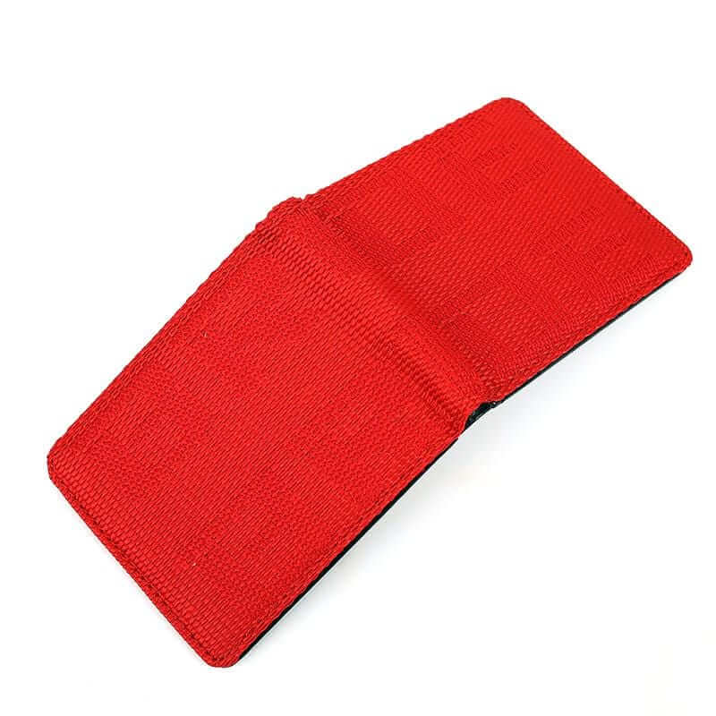 racing bride wallet in red, racing seat material wallet, authentic racing fabric material, black interior, plenty of storage for cash and credit cards
