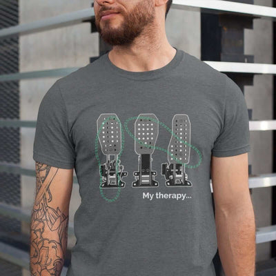 man with funny car tshirt with 3 pedals in dark grey heather
