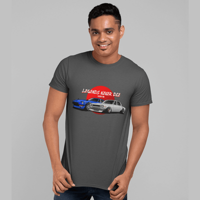 Japanese cars printed on dark grey car t-shirt, JDM tee, car guy gift, car lover, car fan, car enthusiast, petrolhead, JDM lover, boyfriend gift idea