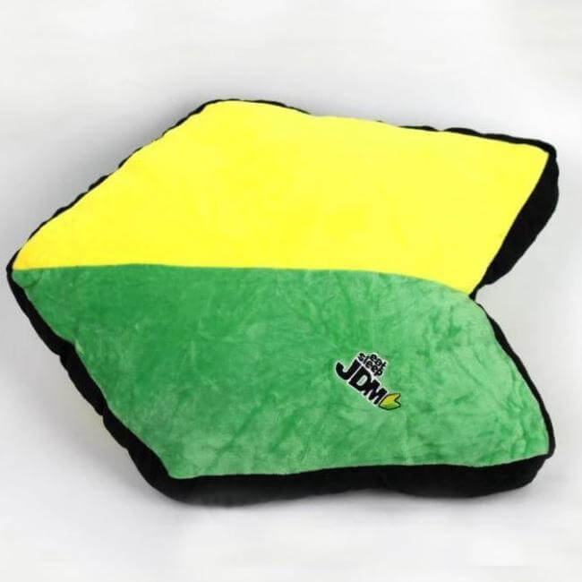 yellow and green jdm racing car pillow designed for a true car enthusiast, cool car decor, car accessories, car pillow, promotion, hot sale, the perfect gift for every car lover, free shipping
