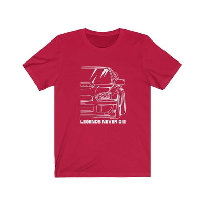 Japanese sports car printed on red car t-shirt designed for car lovers, car guys, car enthusiasts, JDM lovers, and petrolheads