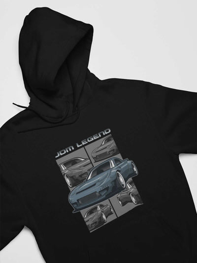 Blue Japanese car printed on a black hoodie, JDM hooded sweatshirt, car guy gift, car lover, car fan, car enthusiast, petrolhead, JDM lover, boyfriend gift idea