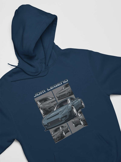 Blue Japanese car printed on a navy hoodie, JDM hooded sweatshirt, car guy gift, car lover, car fan, car enthusiast, petrolhead, JDM lover, boyfriend gift idea