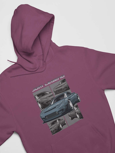 Blue Japanese car printed on a maroon hoodie, JDM hooded sweatshirt, car guy gift, car lover, car fan, car enthusiast, petrolhead, JDM lover, boyfriend gift idea