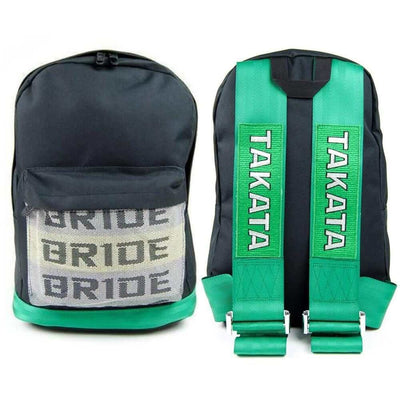 JDM backpack with green racing harness shoulder straps, the perfect school backpack, school bag, racing backpack made for car enthusiasts, bride backpack with authentic racing harness straps, car guys love it, back to school sale