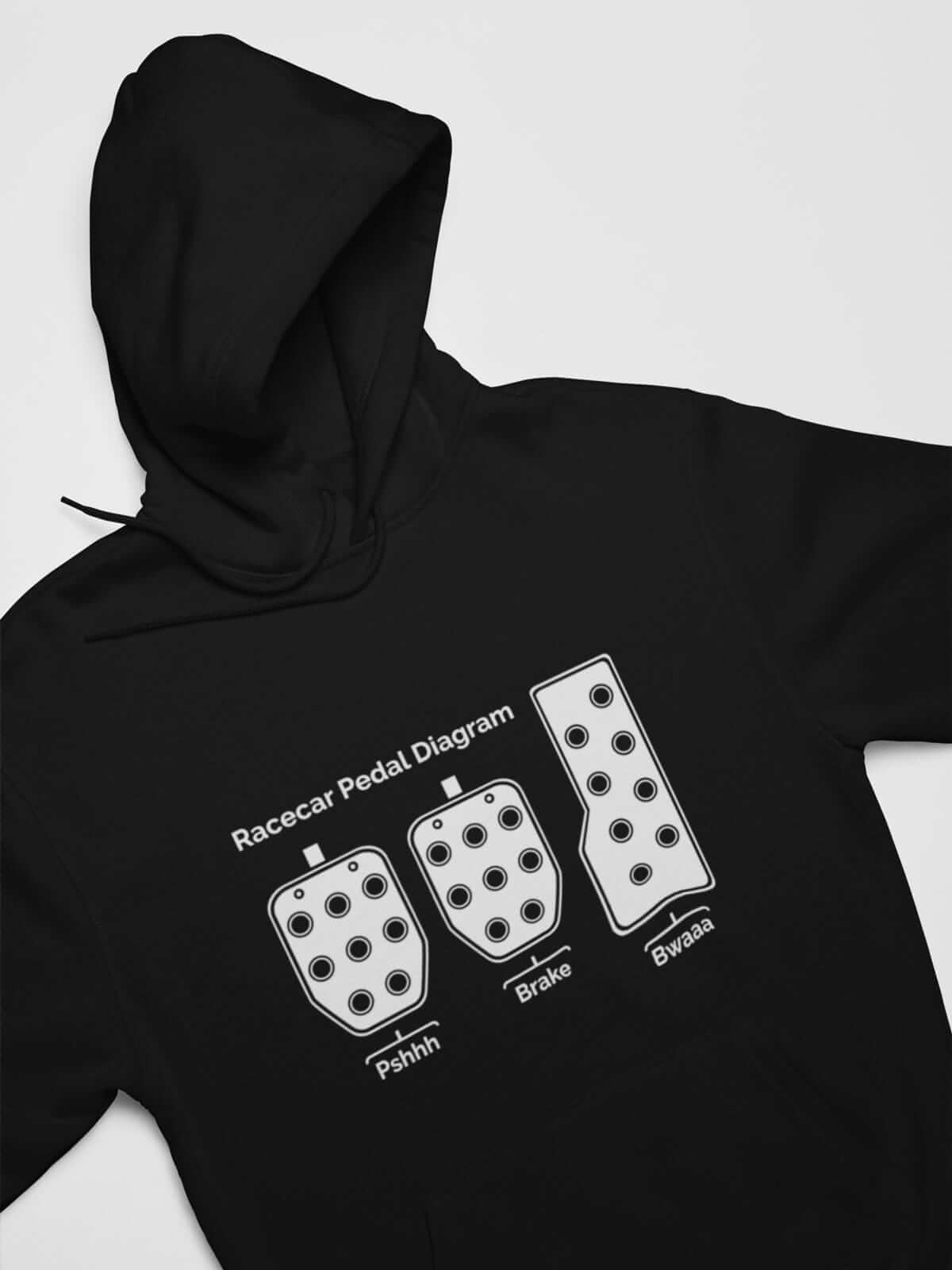 funny car hoodie in black, 3 pedals, car guys, car lovers, car enthusiasts