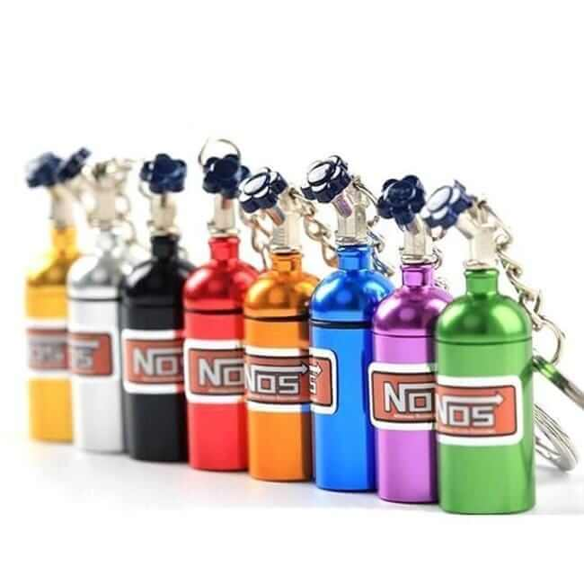 gold, silver, black, red, orange, blue, purple and green nos bottle keychains made for car guys, fast shipping, the perfect gift, hot sale