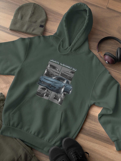 Blue Japanese car printed on a forest green hoodie, JDM hooded sweatshirt, car guy gift, car lover, car fan, car enthusiast, petrolhead, JDM lover, boyfriend gift idea