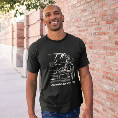 Japanese sports car printed on black car t-shirt designed for car lovers, car guys, car enthusiasts, JDM lovers, and petrolheads