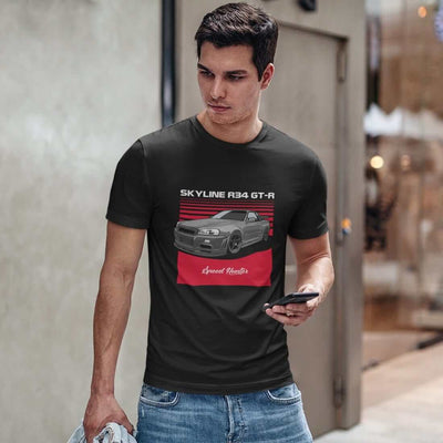 Japanese car printed on black car t-shirt, jdm tee, car guy gift, car lover present, car-fan, car enthusiast