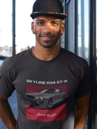 Japanese car printed on dark grey car t-shirt, jdm tee, car guy gift, car lover present, car-fan, car enthusiast