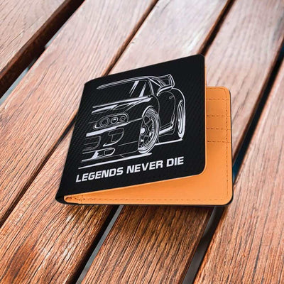 Japanese sports car printed on black carbon wallet - Legends Never Die, JDM