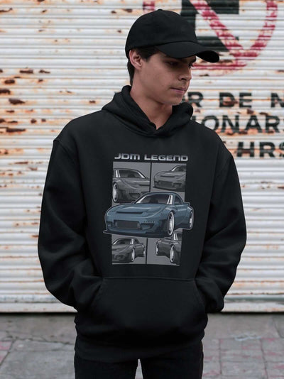a young man with Blue Japanese car printed on a black hoodie, JDM hooded sweatshirt, car guy gift, car lover, car fan, car enthusiast, petrolhead, JDM lover, boyfriend gift idea