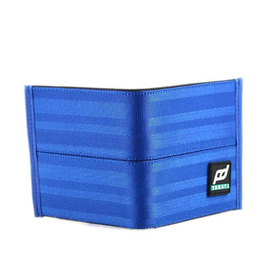 racing FD car wallet in blue, racing seat material wallet, authentic racing fabric material, black interior, plenty of storage for cash and credit cards,