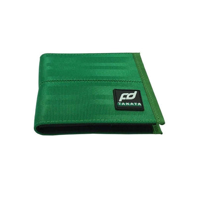 racing FD car wallet in green, racing seat material wallet, authentic racing fabric material, black interior, plenty of storage for cash and credit cards,