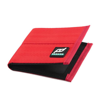 racing FD car wallet in red, racing seat material wallet, authentic racing fabric material, black interior, plenty of storage for cash and credit cards,