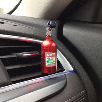 red nos bottle air freshener, car air freshener, JDM freshener, car interior, automotive air freshener