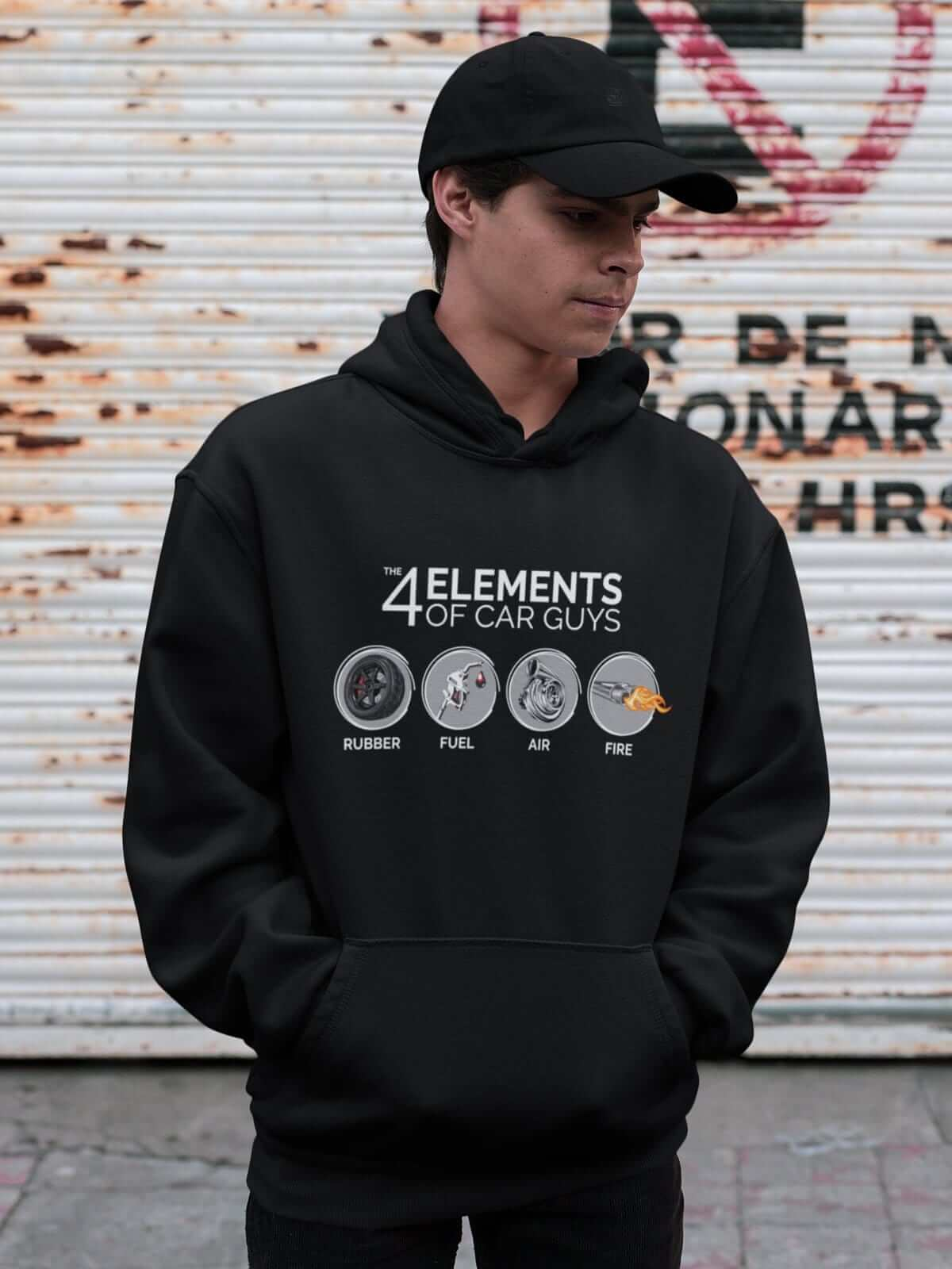 "Funny ""the 4 elements of car guys"" black car hoodie, JDM sweatshirt, car guy gift, car lover, car fan, car enthusiast, petrolhead, JDM lover, boyfriend gift idea."