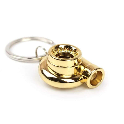 turbo keychain in gold color made for car guys,  keychains for car keys, keychains for men