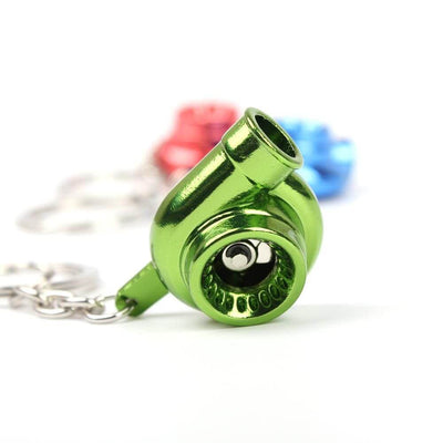 turbo keychain in green color made for car guys,  keychains for car keys, keychains for men