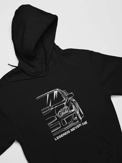 Japanese sports car printed on black car hoodie designed for car lovers, car guys, car enthusiasts, JDM lovers, and petrolheads