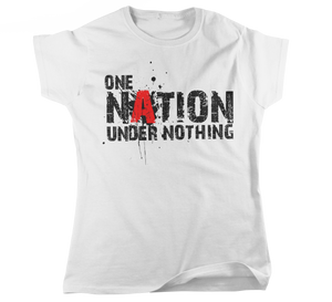 Women's Fitted ONE NATION UNDER NOTHING Atheist T-Shirt - Faithless Mortal Clothing