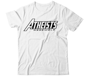 Men's ATHEISTS ASSEMBLE Avengers font Graphic Tee