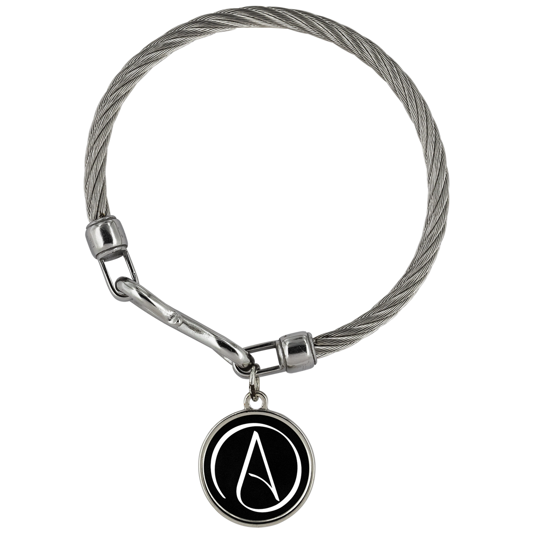 Wickford Atheist Symbol Stainless Steel Bracelet - Black - Faithless Mortal Clothing