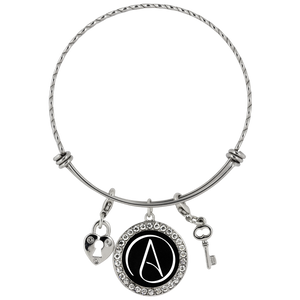 Chloe Atheist Symbol Stainless Steel Charm Bracelet Black - Faithless Mortal Clothing