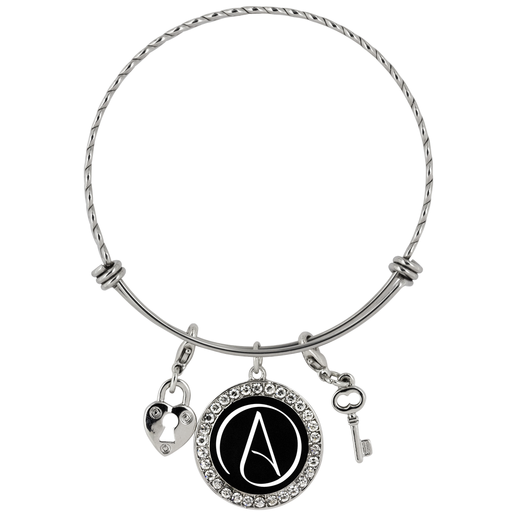 Chloe Atheist Symbol Stainless Steel Charm Bracelet - Faithless Mortal Clothing