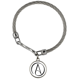 Wickford Atheist Symbol Stainless Steel Bracelet - White - Faithless Mortal Clothing