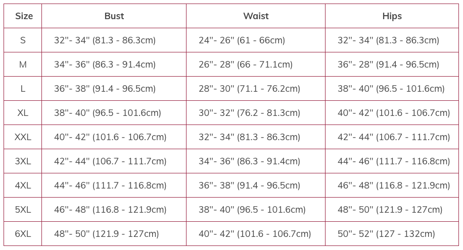 Corset Size Chart - The Drag Queen Closet