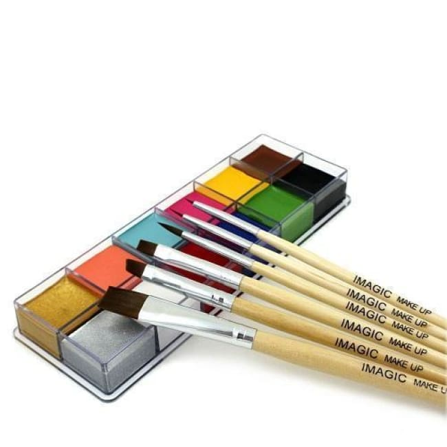 6 Brushes + 12 Colors Set Body Oil Paint (2 Variants) 1 Body Paint
