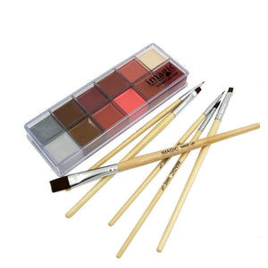 6 Brushes + 12 Colors Set Body Oil Paint (2 Variants) Body Paint