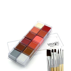 6 Brushes + 12 Colors Set Body Oil Paint (2 Variants) 2 Body Paint