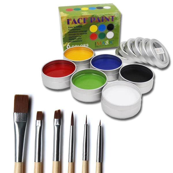 Body Paint 6 Colors Set + 6 Brushes Set Body Paint