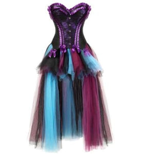Drag Corset Dress Maiden (6 Variants) Black Purple Top & Multicolor / XXL Corset Dress