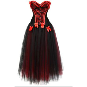 Drag Corset Dress Maiden (6 Variants) Black Red Top & Black Skirt / XXL Corset Dress