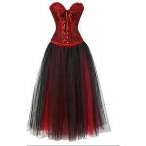 Drag Corset Dress Maiden (6 Variants) Red Top & Black Skirt / XXL Corset Dress