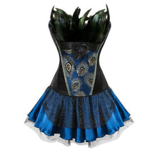 Load image into Gallery viewer, Drag Corset Dress Peacock (3 Variants) Black top / Blue skirt / S Corset Dress